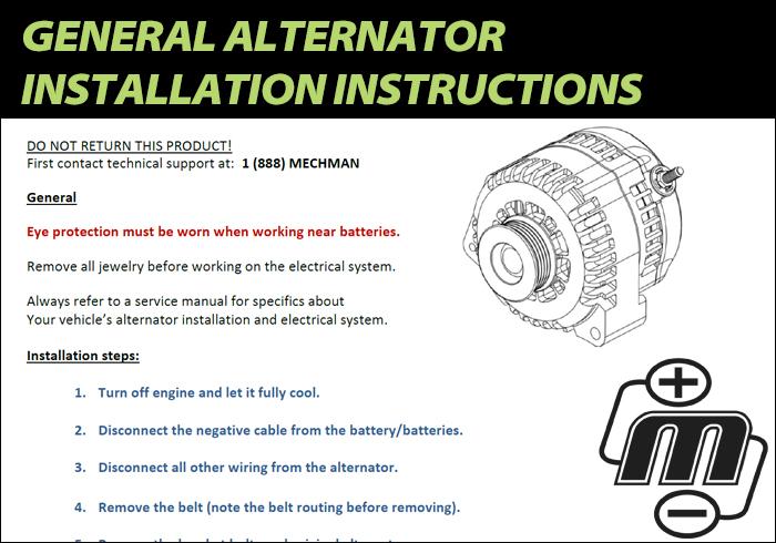 General Alternator Installation Instructions Mechman Alternators