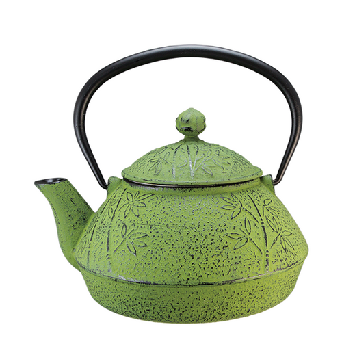 Bamboo Cast Iron Teapot Green By Vedic Teas
