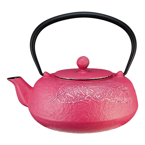 Leaf Cast Iron Teapot  With Leaf Light Purple And Silver Finish