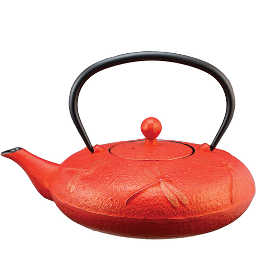 Dragon Fly Red Cast Iron Teapot By Vedic Teas