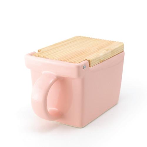Zero Japan Salt Box with Wooden Lid Pink
