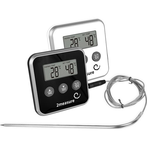 Digital Food thermometer with a probe 0°C - 250°C Black