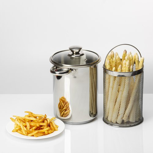Multifunctional high stock pot with basket and lid 4L