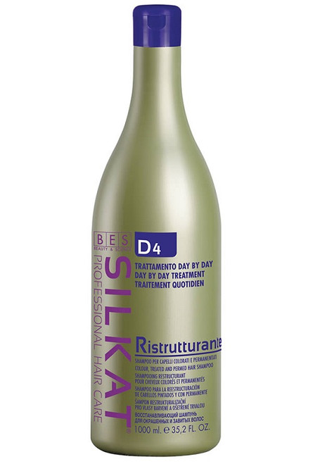 Bes Silkat Day by Day D4 RESTRUCTURING SHAMPOO is designed specifically for daily cleansing of the scalp.