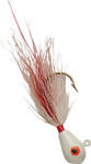 Pearl Head/White Red Body  bucktail jig