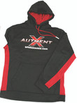 AuthentX Fleece Sweathshirt shown in black and red.