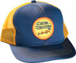 Custom Jigs and Spins Original Mesh Cap shown in blue and yellow