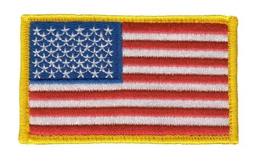 "U.S. Flag Patch, Hook, Medium Gold, 3-3/8x2"""