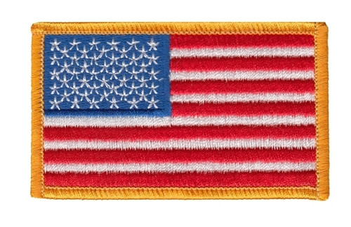 "U.S. Flag Patch, Dark Gold, 3-3/8x2"""