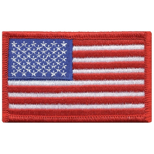 """U.S. Flag Patch, Red Border, 3-3/8x2"""""""