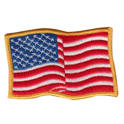 "U.S. Flag Patch, Wavy, Medium Gold, 3-1/2x2-1/4"""