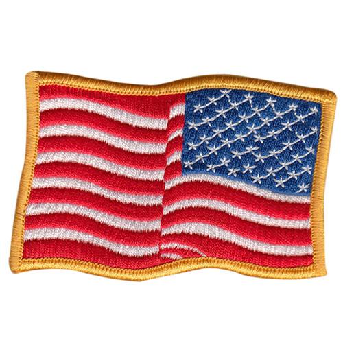 U.S. Flag Patch, Wavy, Reverse, Medium Gold, 3-1/2x2-1/4