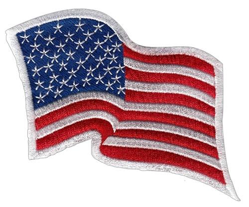 "U.S. Flag Patch, Wavy, White Border, 3-1/4x2-1/4"""