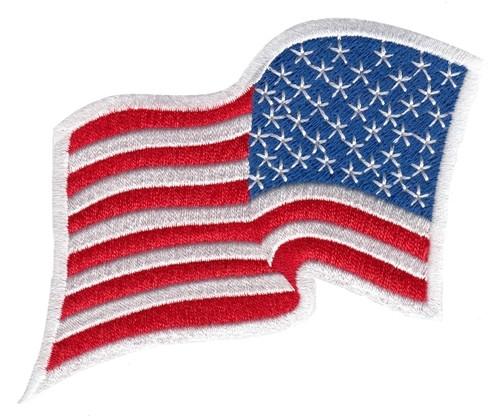 "U.S. Flag Patch, Wavy, Reverse, White Border, 3-1/4x2-1/4"""