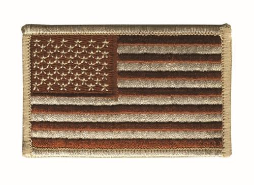 """U.S. Flag Patch, Hook, Desert, 3-3/8x2"""""""