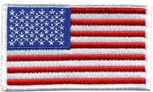 "U.S. Flag Patch, Hook, White Border, 3-3/8x2"""