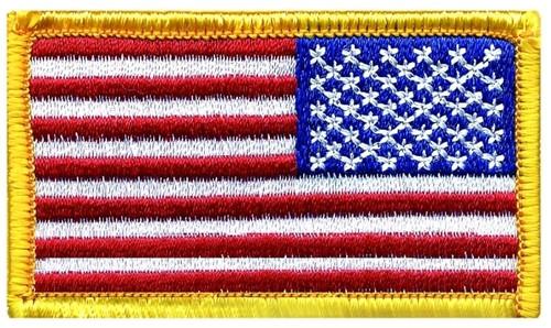 "U.S. Flag Patch, Reverse, Medium Gold, 2-1/2x1-1/2"""