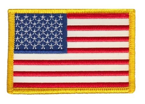 "U.S. Flag Patch, Reflective, Medium Gold, 3-3/8x2-1/4"""