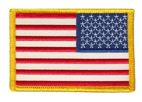 "U.S. Flag Patch, Reflective, Reverse, Medium Gold, 3-3/8x2-1/4"""