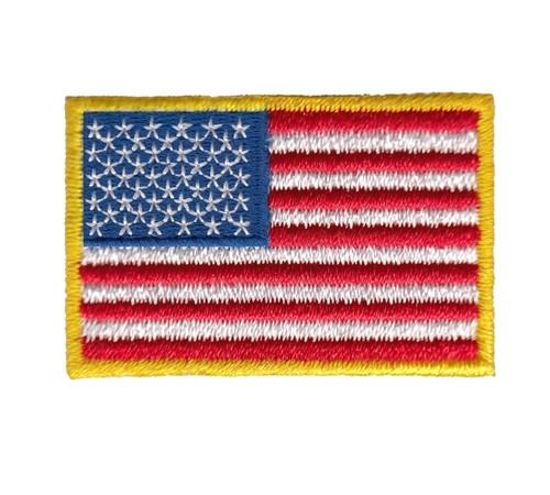 "U.S. Flag Patch, Mini, Iron-on, Medium Gold, 1-1/2x1"""