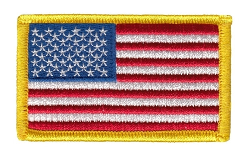 "U.S. Flag Patch, Medium Gold, 2-1/2x1-1/2"""