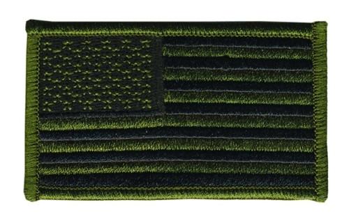 "U.S. Flag Patch, O.D./Black, 3-3/8x2"""