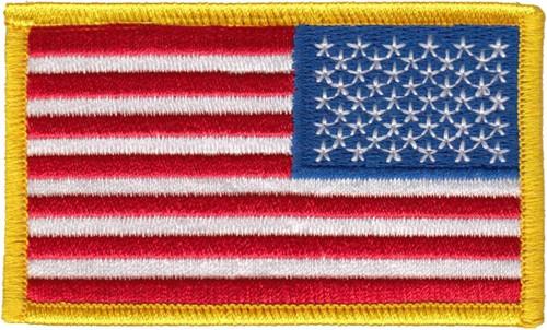 "U.S. Flag Patch, Reverse, Medium Gold, 3-3/8x2"""