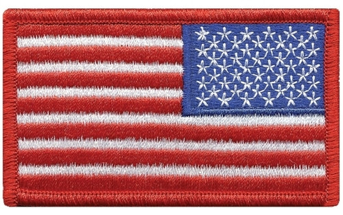 """U.S. Flag Patch, Reverse, Red, 3-3/8x2"""""""