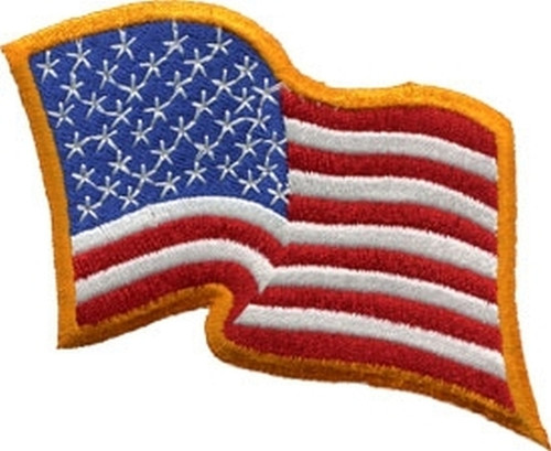 "U.S. Flag Patch, Wavy, Dark Gold, 3-1/4x2-1/4"""