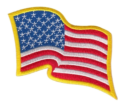 "U.S. Flag Patch, Wavy, Medium Gold, 3-1/4x2-1/4"""