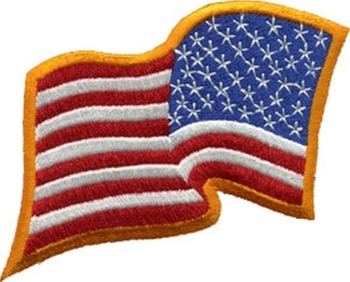 "U.S. Flag Patch, Wavy, Reverse, Dark Gold, 3-1/4x2-1/4"""