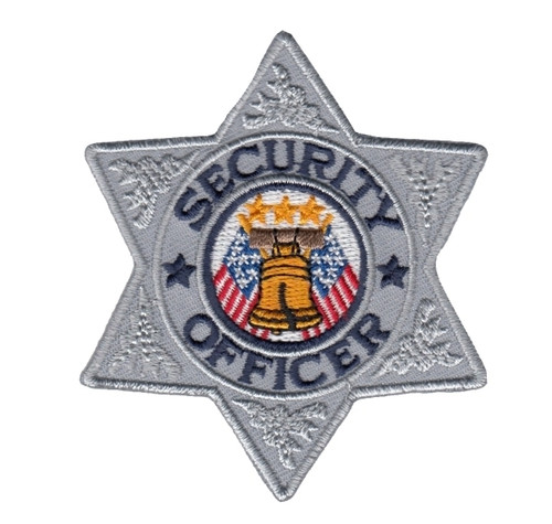 """SECURITY OFFICER 6-Pt Star Badge Patch, Silver/Navy, 3x3"""""""