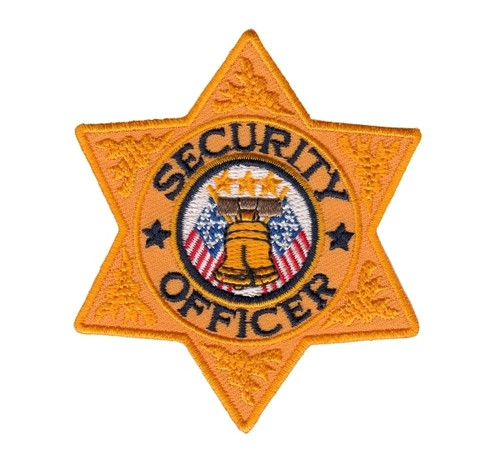"""SECURITY OFFICER 6-Pt Star Badge Patch, Gold/Navy, 3x3"""""""