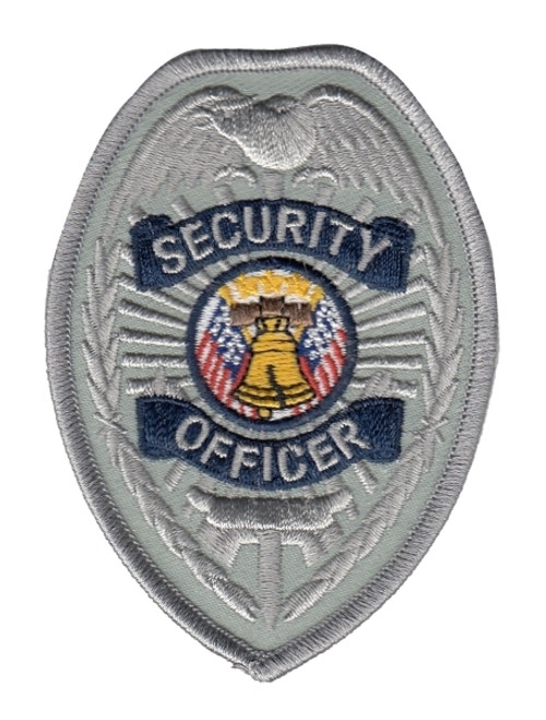 """SECURITY OFFICER Badge Patch, Silver/Navy, 2-1/2x3-1/2"""""""