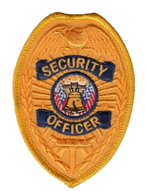 """SECURITY OFFICER Badge Patch, Gold/Navy, 2-1/2x3-1/2"""""""