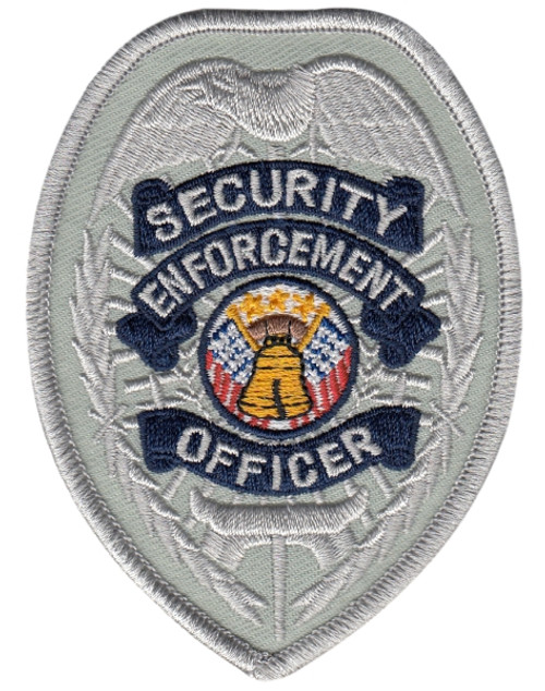 """SECURITY ENFORCEMENT OFFICER Badge Patch, Silver/Navy, 2-3/8x3-1/2"""""""