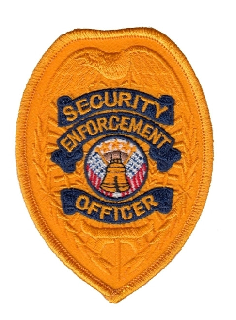 """SECURITY ENFORCEMENT OFFICER Badge Patch, Gold/Navy, 2-3/8x3-1/2"""""""