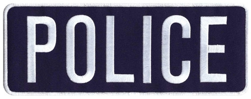 """POLICE Back Patch, White/Navy Blue, 11x4"""""""