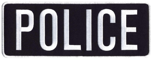 "POLICE Back Patch, White/Dark Navy Blue, 11x4"""