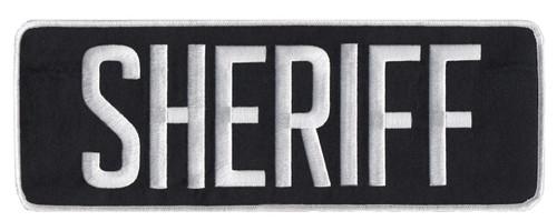 "SHERIFF Back Patch, White/Black, 11x4"""