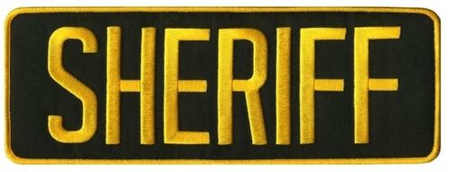 "SHERIFF Back Patch, Medium Gold/O.D.(LASD), 11x4"""
