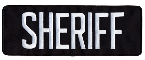 "SHERIFF Back Patch, White/Midnight Blue, 11x4"""