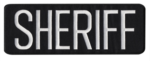 "SHERIFF Back Patch, White/Black-Black Border 11x4"""