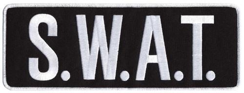 "S.W.A.T. Back Patch, White/Black, 11x4"""