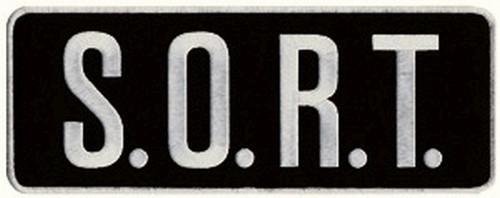 "S.O.R.T. Back Patch, White/Black, 11x4"""