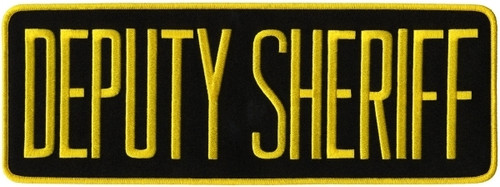 "DEPUTY SHERIFF Back Patch, Medium Gold/Black, 11x4"""