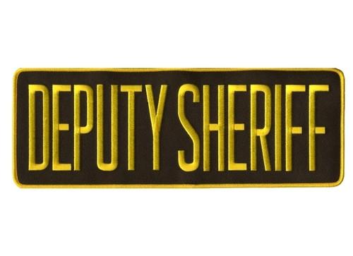 "DEPUTY SHERIFF Back Patch, Medium Gold/Brown, 11x4"""