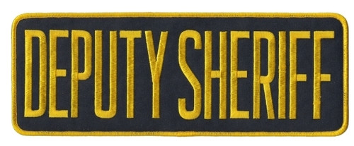 "DEPUTY SHERIFF Back Patch, Medium Gold/Midnight, 11x4"""