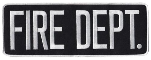 "FIRE DEPT. Back Patch, White/Black, 11x4"""