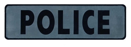 """POLICE Back Patch, Printed,   Reflective, Black/Silver, 12x3-1/2"""""""